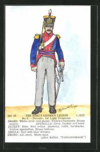 Künstler-AK Rene North: The King`s German Legion ca. 1915, Private, 1st Light Dragoons, Uniform, handkoloriert
