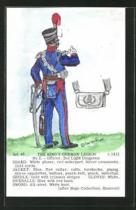 Künstler-AK Rene North: The King`s German Legion ca. 1915, Officer, 2nd Light Dragoons, Uniform, handkoloriert
