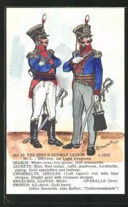 Künstler-AK Rene North: The King`s German Legion ca. 1915, Officers, 1st Light Dragoons, Uniform, handkoloriert
