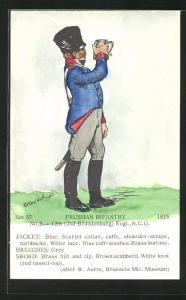Künstler-AK Rene North: Prussian Infantry 1815, 12th Regt., N.C.O., Uniform, handkoloriert