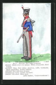 Künstler-AK Rene North: The King`s German Legion ca. 1915, Private, 2nd Light Dragoons, Uniform, handkoloriert