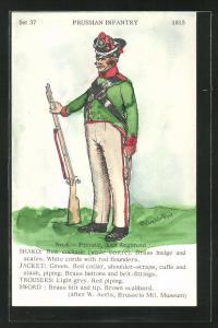 Künstler-AK Rene North: Prussian Infantry 1815, Private, 30th Regiment, Uniform, handkoloriert