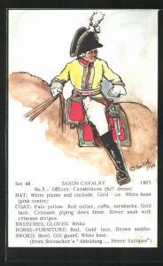 Künstler-AK Rene North: Saxon Cavalry 1803, Officer, Carabiniers, Uniform, handkoloriert