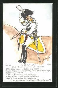 Künstler-AK Rene North: Saxon Cavalry 1803, Trooper, Kochtitzky Cuirassiers, Uniform, handkoloriert