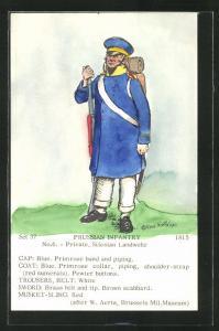Künstler-AK Rene North: Prussian Infantry 1815, Private, Silesian Landwehr, Uniform, handkoloriert