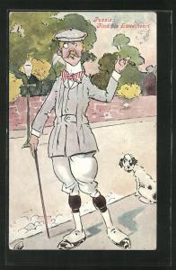 Künstler-AK Puzzle: Find his Sweetheart, Mann mit Gehstock und Hund am Strassenrand