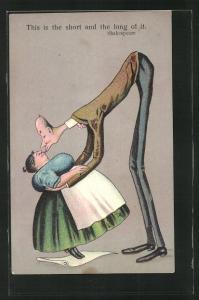 Künstler-AK ShakespearesThis is the short and the long of it, grosser dünner Mann küsst eine kleine dicke Frau