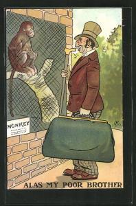 Künstler-AK Alas my poor brother, Mann lacht einen Affen im Gehege aus