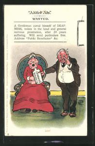 Künstler-AK Addled Ads wanted, a Gentleman cured himself of Deafness, Mann gibt seiner Frau ein Schlafmittel