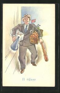 Künstler-AK Il tifoso, Mann mit Eier , Obst und Brot, Marktschreier mit Megafon