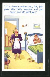 Künstler-AK Hausfrau weckt Mann im Bett