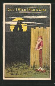 Künstler-AK Gee, I wish I had a girl, Knabe beobachtet ein sich küssendes Paar