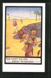 Künstler-AK Löwen beobachten einen Jäger in der Wüste