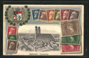 AK München, Blick zur Frauenkirche, Briefmarken, Wappen, Friseur