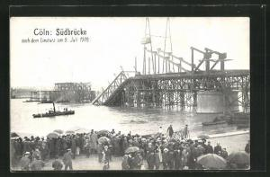 AK Köln-Neustadt, Südbrücke nach dem Einsturz 1908, Katastrophe