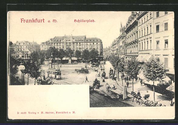 AK Frankfurt a. M., Schillerplatz mit Strassenbahn 0