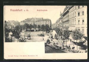 AK Frankfurt a. M., Schillerplatz mit Strassenbahn