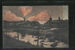 AK Hamburg-Neuengamme-Kirchwärder, Entzündung von Erdgas 1910