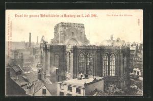 AK Hamburg-Neustadt, Brand der grossen Michaeliskirche 1906, Die Ruine der Kirche