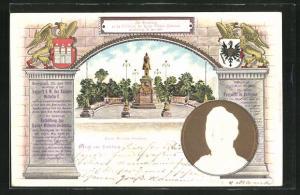 Präge-Lithographie Hamburg, Zur Erinnerung an die Enthüllung des Kaiser Wilhelm-Denkmals 1903, Portrait Wilhem II.