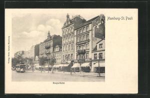 AK Hamburg-St. Pauli, Reeperbahn mit Geschäft von Heinrich Weiss mit Strassenbahn