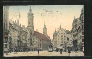 AK München, Teilansicht mit Strassenbahn