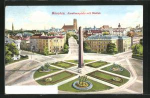 AK München, Karolinenplatz mit Obelisk