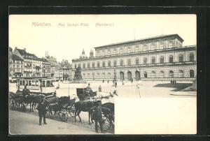 AK München, Strassenbahn am Max Joseph-Platz, Residenz