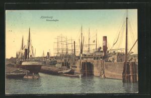 AK Hamburg-Grasbrook, Schiffe im Hansahafen
