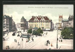 AK München, Karlsplatz, Blick in die Bayer- und Prielmayerstrasse mit Strassenbahn
