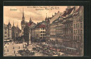 AK München, Marienplatz mit Strassenbahn