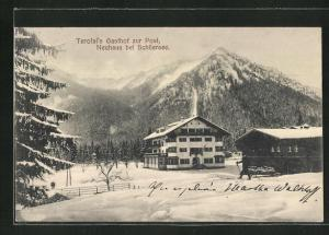 AK Neuhaus / Schliersee, Terofal`s Gasthof zur Post im Schnee