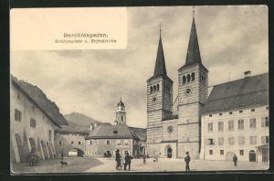 AK Berchtesgaden, Schlossplatz und Stiftskirche