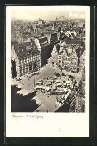 AK Bremen, Marktplatz mit Roland-Statue aus der Vogelschau