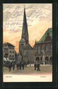 AK Bremen, Marktplatz mit Rolandstatue