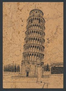 Kork-AK Pisa, La Torre Pendente, Der schiefe Turm von Pisa