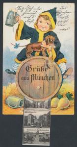 Leporello-AK München, Münchner Kindl mit Dackel und Motive aus München