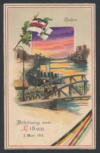AK Libau, Besetzung von Libau 1915, Hafen, Halt gegen das Licht, 1. Weltkrieg