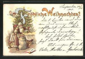AK Weihnachtsmann mit Geschenken am Tannenbaum, Weihnachtsgruss
