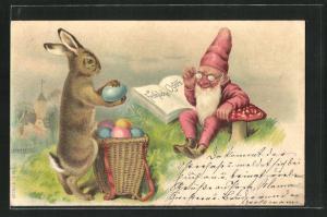 AK Zwerg und Osterhase mit Osterkorb