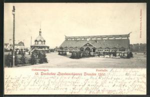 AK Dresden, Deutsches Bundesschiessen 1900, Gabentempel und Festhalle
