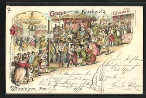 Lithographie Winzingen, Gruss von der Kirchweih, Schiessbude, Volksfest