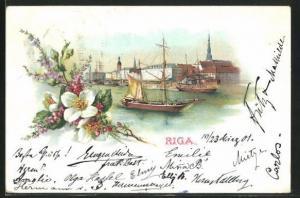 Lithographie Riga, Segelschiffe im Hafen