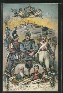 AK Würzburg, 100 jähr. Regimentsjubiläum des k. bayr. 9. IR Fürst Wrede, 1803-1903, Ganzsache Bayern PP15 C59 /01