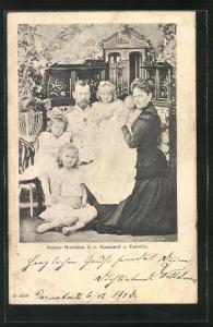 AK Kaiser Nicolaus II. von Russland und Familie
