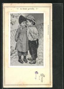 Seiden-AK Kinder in zeitgenöss. Kleidung