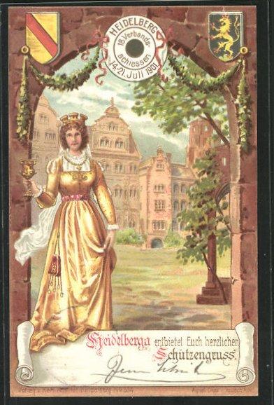 Lithographie Heidelberg, 18. Verbandsschiessen 1901, Heidelberga, Schützenverein, Ganzsache PP15 C29 /04 0