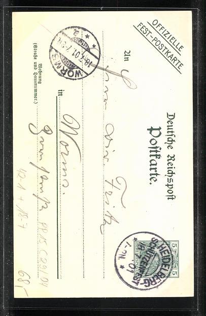 Lithographie Heidelberg, 18. Verbandsschiessen 1901, Heidelberga, Schützenverein, Ganzsache PP15 C29 /04 1