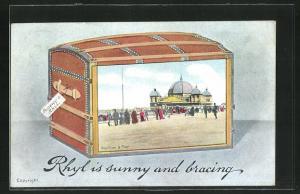 Passepartout-AK Rhyl, Pavillon & Pier in einer Truhe