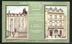 Künstler-AK London-SW, Eagle Insurance Company, 79, Pall Mall, Residence of Nelll Gwyn 1671-1687, New Head Office